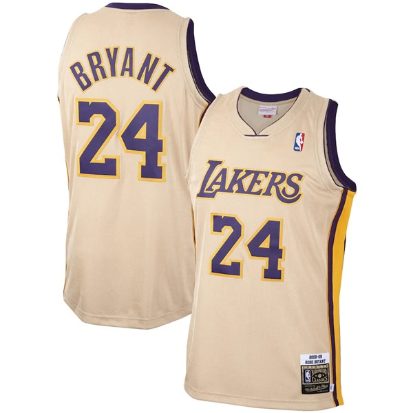Men's Los Angeles Lakers #24 Kobe Bryant Cream 2008-09 Throwback Stitched NBA Jersey