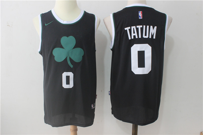 Men's Nike Boston Celtics #0 Jayson Tatum All Black Stitched NBA Jersey