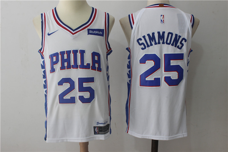 Men's Nike Philadelphia 76ers #25 Ben Simmons White Stitched NBA Jersey