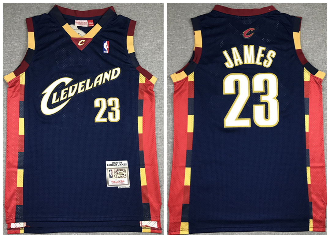 Men's Cleveland Cavaliers Navy #23 LeBron James 2008-09 Throwback Stitched NBA Jersey