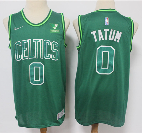 Men's Boston Celtics #0 Jayson Tatum Earned Edition Green Stitched NBA Jersey