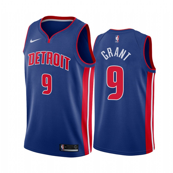 Men's Detroit Pistons #9 Jerami Grant Blue 2020-21 Stitched NBA Jersey