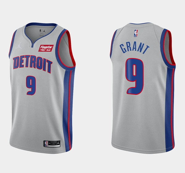 Men's Detroit Pistons #9 Jerami Grant Gray 2020-21 Stitched NBA Jersey