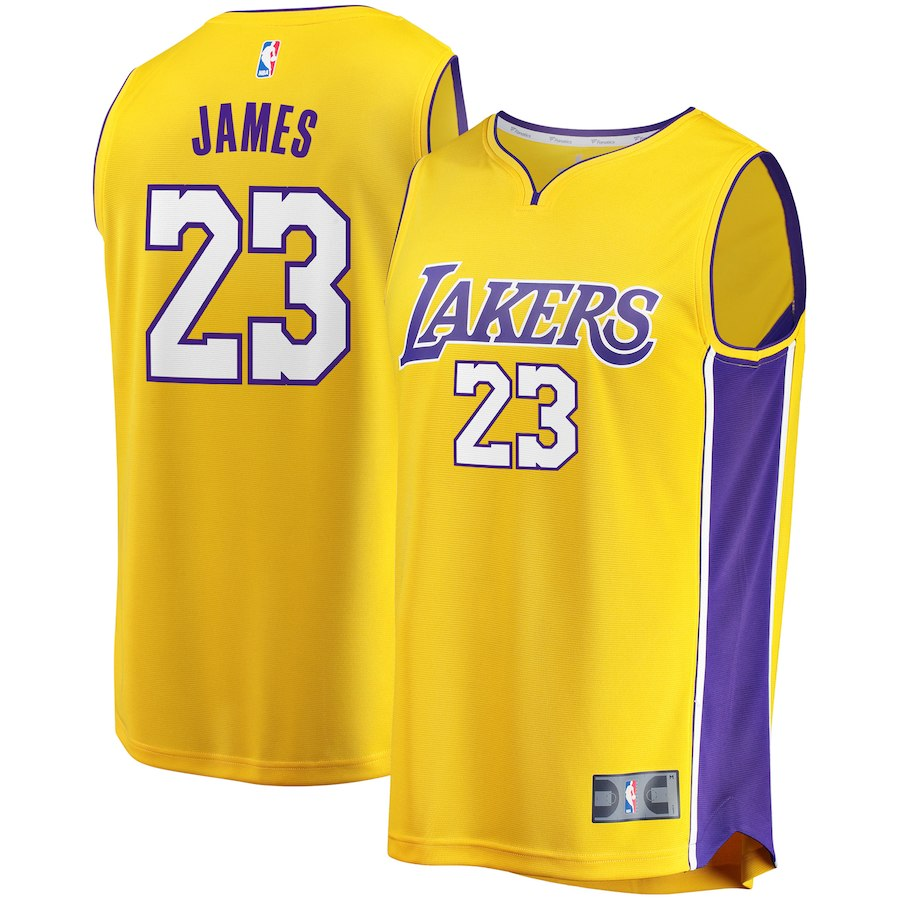 Men's Los Angeles Lakers #23 LeBron James Yellow Stitched NBA Jersey