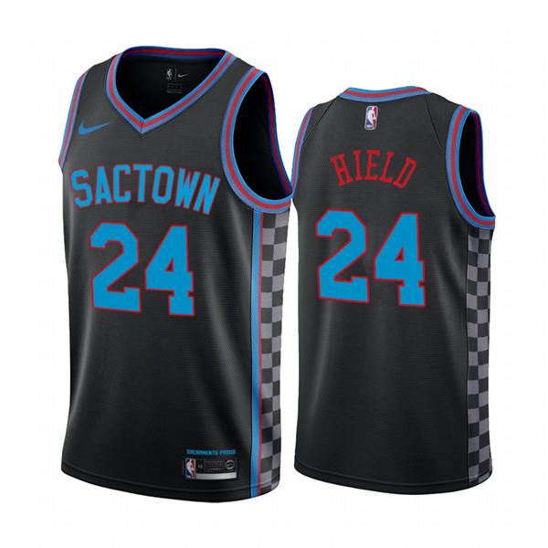Men's Sacramento Kings Purple #24 Buddy Hield Black City Edition Sactown 2020-21 Stitched NBA Jersey