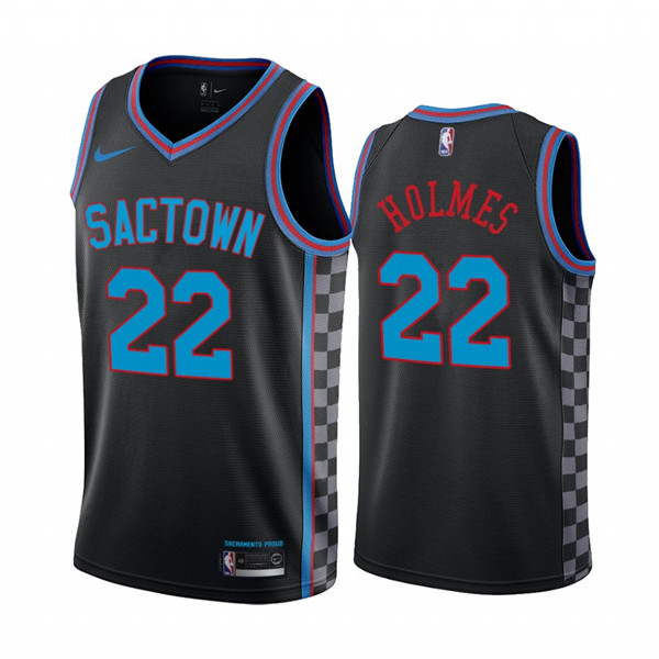 Men's Sacramento Kings Purple #22 Richaun Holmes Black City Edition Sactown 2020-21 Stitched NBA Jersey