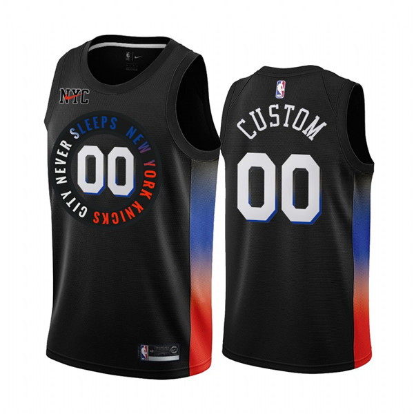 Men's New York Knicks Active Player Custom Black City Edition 2020-21 Stitched NBA Jersey