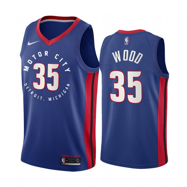 Men's Detroit Pistons #35 Christian Wood Navy Motor City Edition 2020-21 Stitched NBA Jersey
