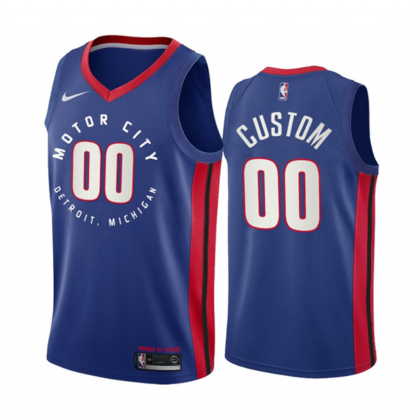 Men's Detroit Pistons Active Player Custom Navy Motor City Edition 2020-21 Stitched NBA Jersey