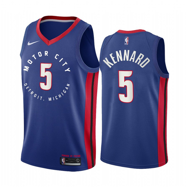 Men's Detroit Pistons #5 Luke Kennard Navy Motor City Edition 2020-21 Stitched NBA Jersey