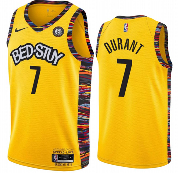 Men's Brooklyn Nets #7 Kevin Durant Gold City Edition 2020-21 Honor Basquiat Stitched NBA Jersey