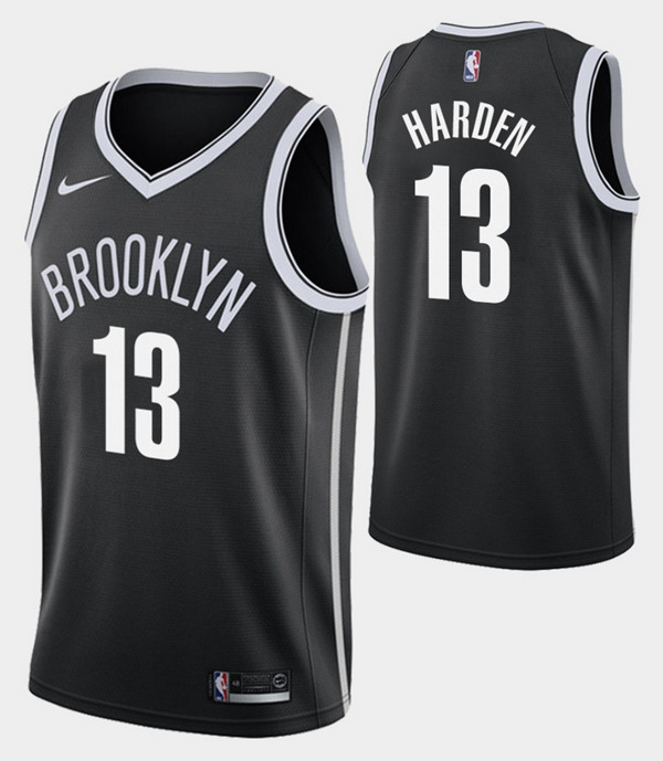 Men's Brooklyn Nets #13 James Harden Black Icon Edition Swingman Stitched NBA Jersey