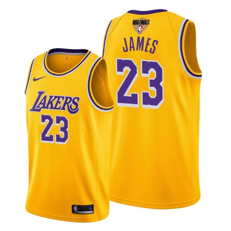 Men's Los Angeles Lakers #23 LeBron James Yellow 2020 Finals Stitched NBA Jersey
