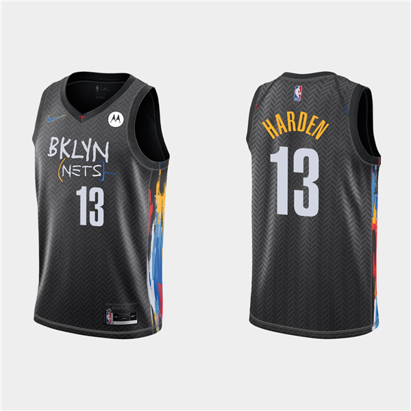 Men's Brooklyn Nets #13 James Harden Black City Edition 2020-21 Honor Basquiat Stitched NBA Jersey