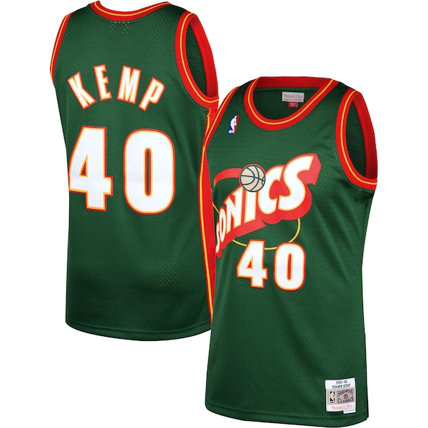 Mitchell And Ness Thunder #40 Shawn Kemp Green SuperSonics Stitched NBA Jersey