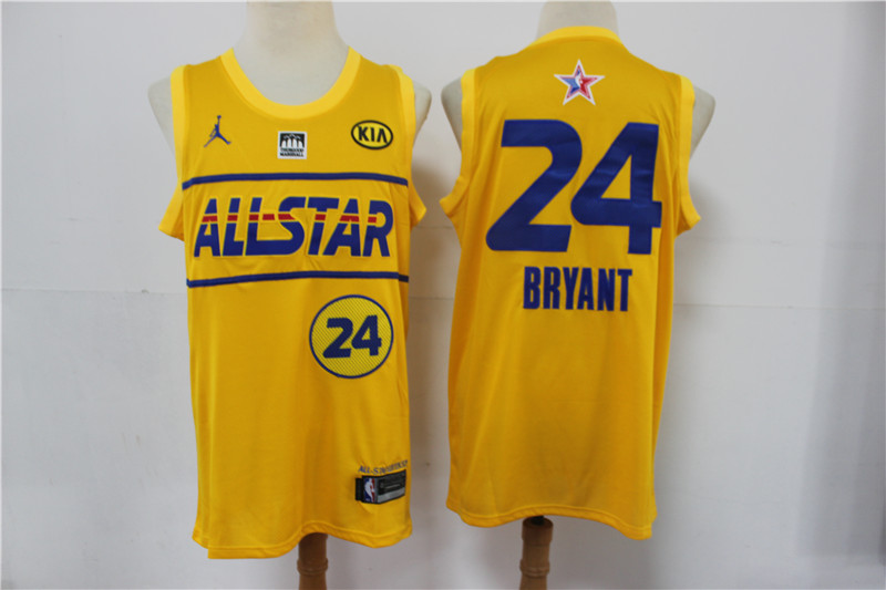 Men's 2021 All-Star #24 Kobe Bryant Yellow Western Conference Stitched NBA Jersey