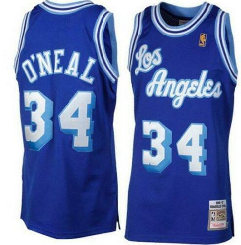 Men's Los Angeles Lakers #34 Shaquille O'Neal Blue Mitchell & Ness Stitched NBA Jersey