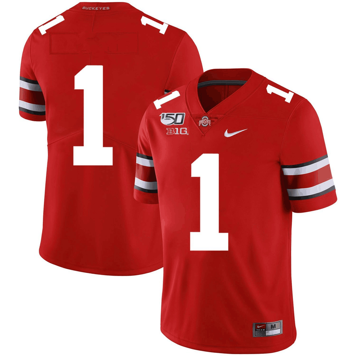 Men's Ohio State Buckeyes #1 2019 Red 150th Season College Stitched NCAA Jersey