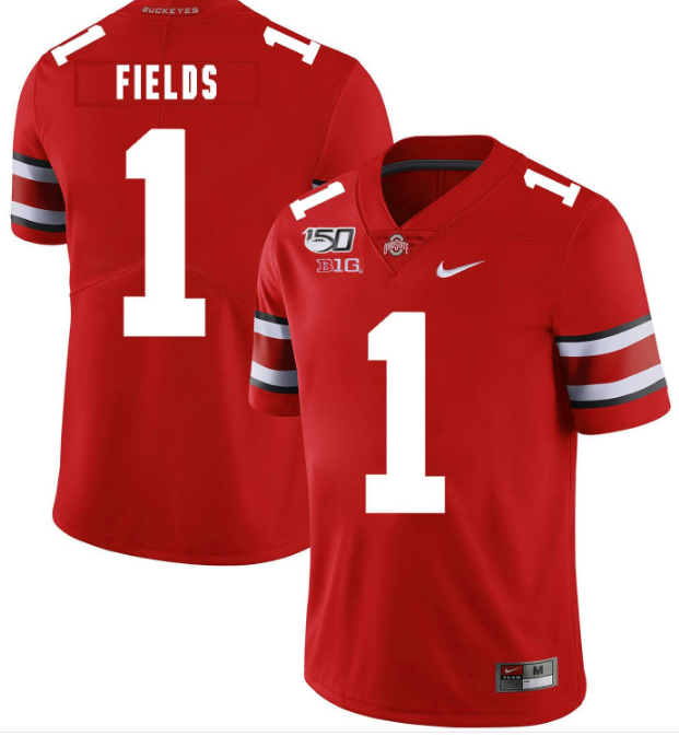 Men's Ohio State Buckeyes #1 Justin Fields 2019 Red 150th Season College Stitched NCAA Jersey