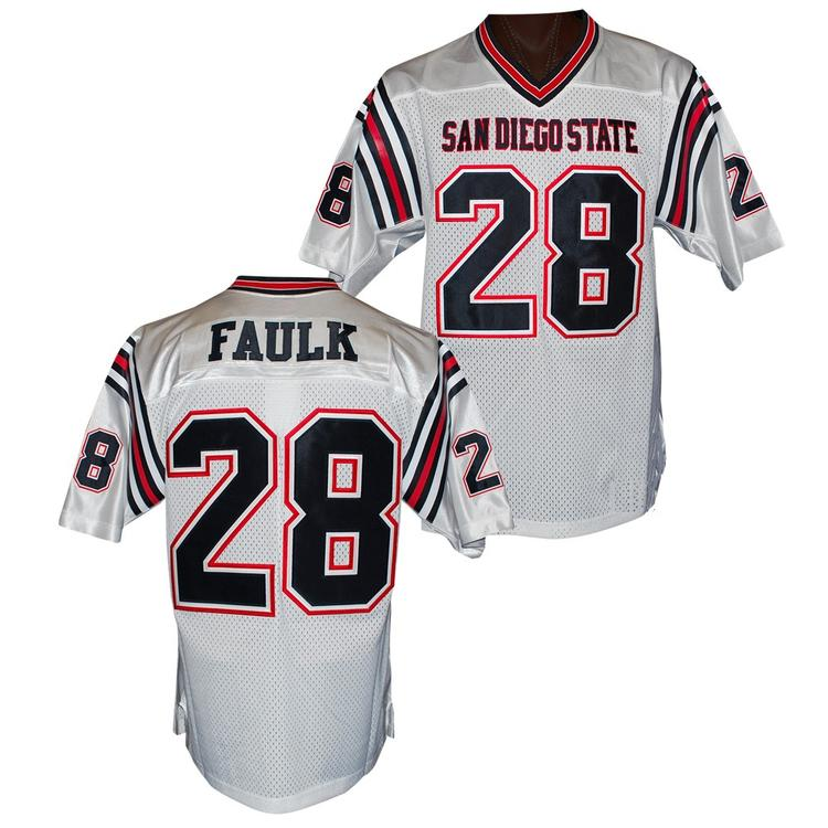 Men's San Diego State Aztecs #28 Marshall Faulk White College Football Throwback Stitched NCAA Jersey