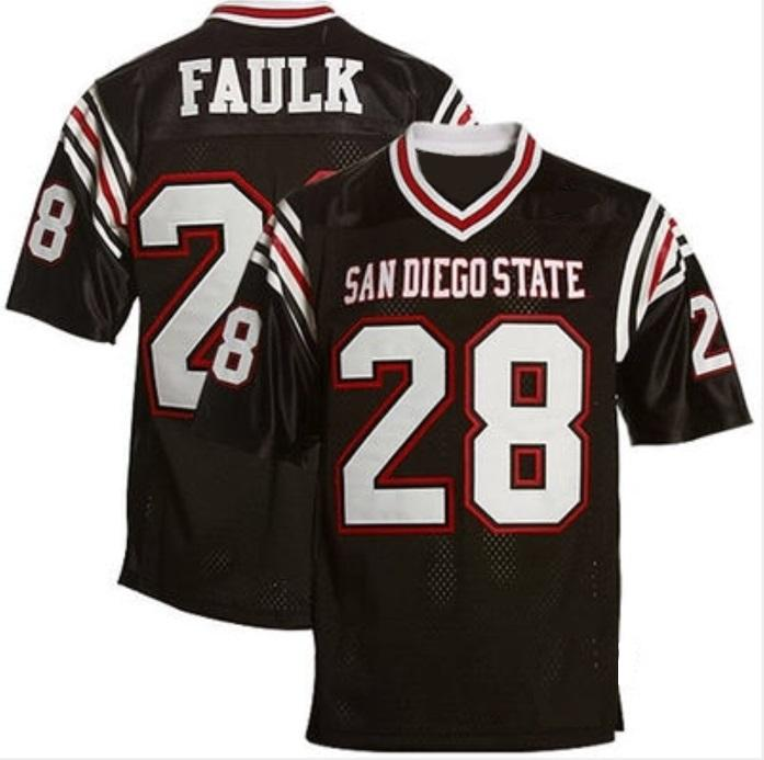Men's San Diego State Aztecs #28 Marshall Faulk Black College Football Throwback Stitched NCAA Jersey