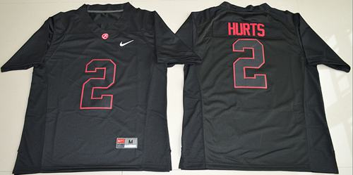 Crimson Tide #2 Jalen Hurts Blackout Limited Stitched NCAA Jersey