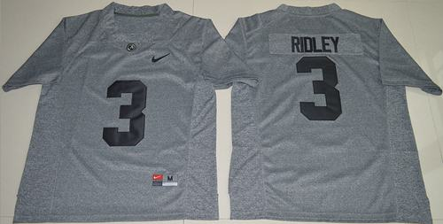 Crimson Tide #3 Calvin Ridley Gridiron Gray Limited Stitched NCAA Jersey