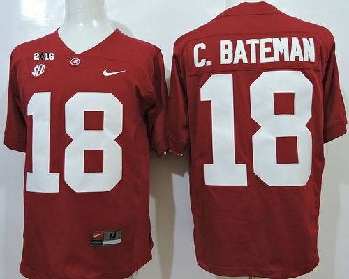Crimson Tide #18 Cooper Bateman Red SEC & 2016 College Football Playoff National Championship Patch Stitched NCAA Jersey