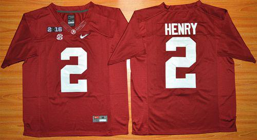 Crimson Tide #2 Derrick Henry Red 2016 National Championship Stitched NCAA Jersey