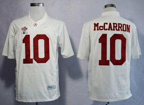 Crimson Tide #10 AJ McCarron White Limited 2016 College Football Playoff National Championship Patch Stitched NCAA Jersey