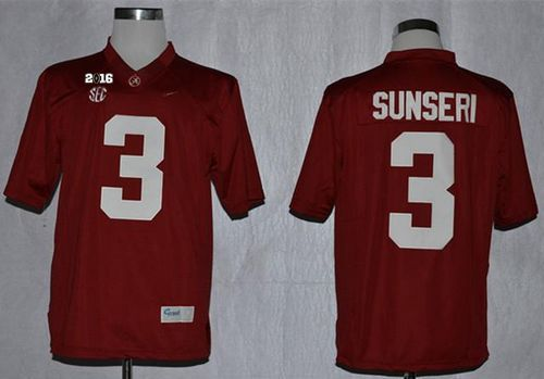 Crimson Tide #3 Vinnie Sunseri Red Limited 2016 College Football Playoff National Championship Patch Stitched NCAA Jersey