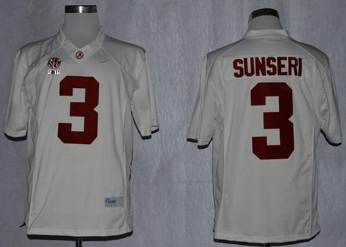 Crimson Tide #3 Vinnie Sunseri White Limited 2016 College Football Playoff National Championship Patch Stitched NCAA Jersey