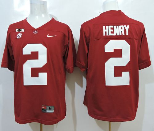 Crimson Tide #2 Derrick Henry Red SEC & 2016 College Football Playoff National Championship Patch Stitched NCAA Jersey