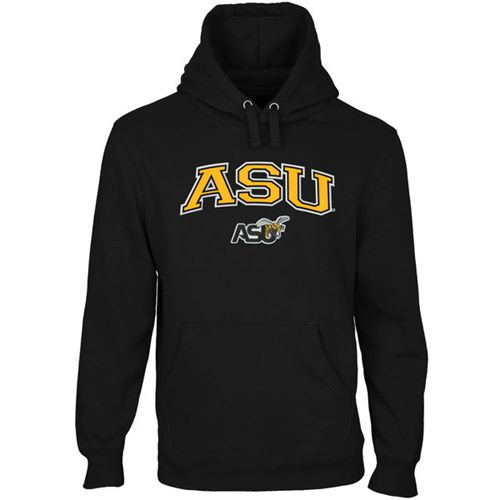 Alabama State Hornets Logo Arch Applique Pullover Hoodie Black