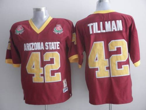 Sun Devils #42 Pat Tillman Red 1997 Rose Bowl Patch Stitched NCAA Jersey