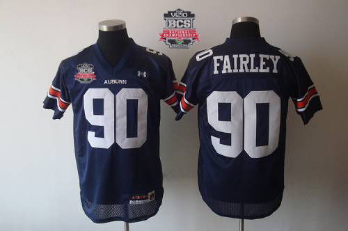 Tigers #90 Fairley Blue 2014 BCS Bowl Patch Stitched NCAA Jersey