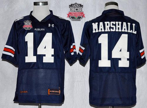 Tigers #14 Nick Marshall Blue 2014 BCS Bowl Patch Stitched NCAA Jersey