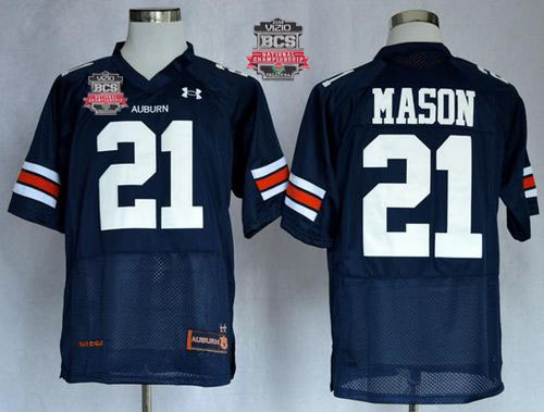 Tigers #21 Tre Mason Blue 2014 BCS Bowl Patch Stitched NCAA Jersey