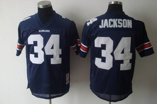 Tigers #34 Bo Jackson Blue Stitched NCAA Jersey