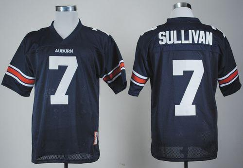 Tigers #7 Pat Sullivan Blue Throwback Stitched NCAA Jersey