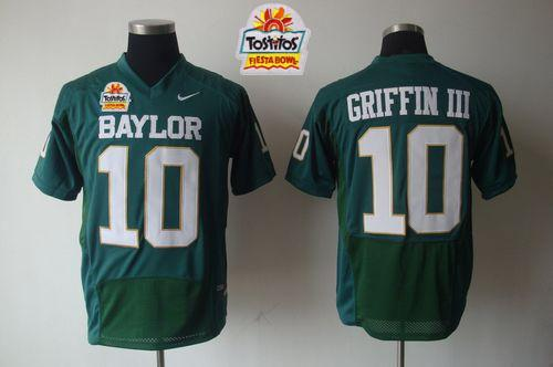 Bears #10 Robert Griffin III Green 2014 Fiesta Bowl Patch Stitched NCAA Jersey