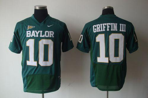 Bears #10 Robert Griffin III Green Stitched NCAA Jersey