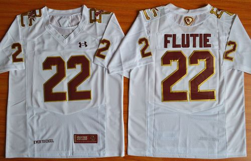 College Eagles #22 Doug Flutie White Authentic Performance Stitched NCAA Jersey