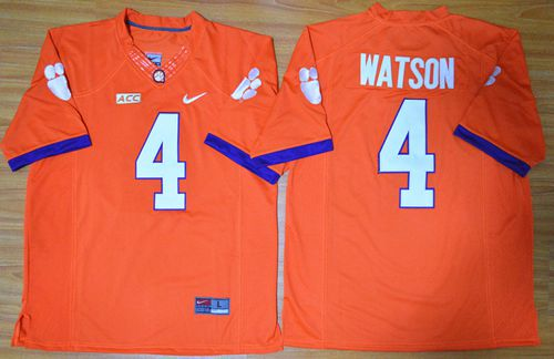 Tigers #4 Deshaun Watson Orange Limited Stitched NCAA Jersey