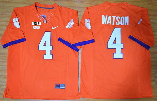 Tigers #4 Deshaun Watson Orange Limited 2016 College Football Playoff National Championship Patch Stitched NCAA Jersey