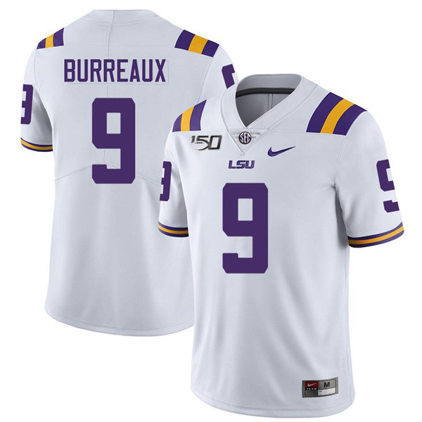 Men's LSU Tigers #9 Joe Burreaux White With 150th Patch Limited Stitched NCAA Jersey
