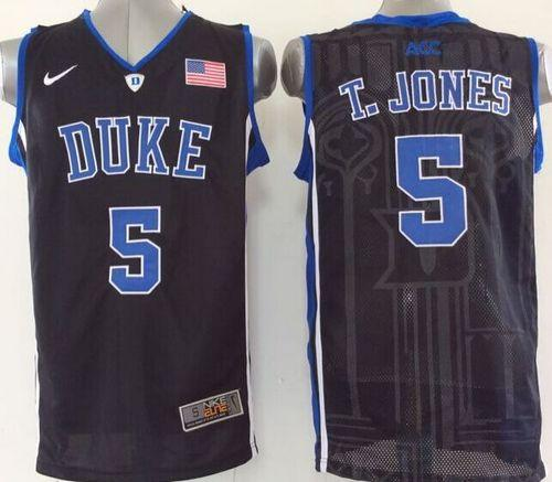 Blue Devils #5 Tyus Jones Black Basketball Stitched NCAA Jersey