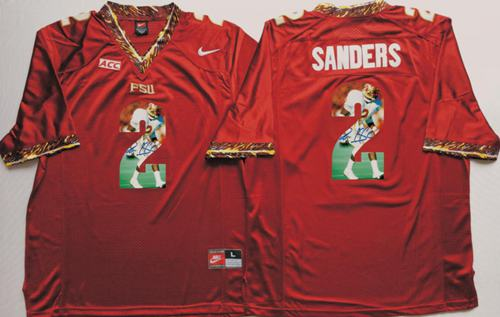 Seminoles #2 Deion Sanders Red Player Fashion Stitched NCAA Jersey