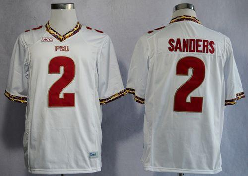 Seminoles #2 Deion Sanders White New Stitched NCAA Jersey