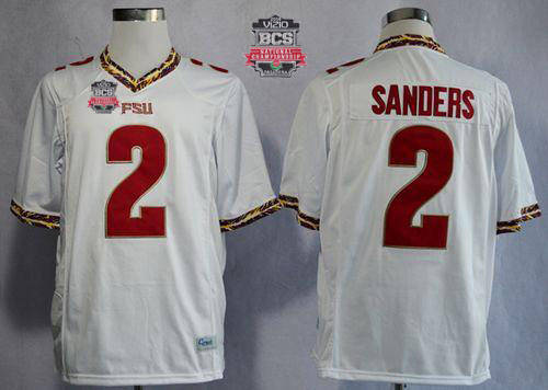 Seminoles #2 Deion Sanders New White 2014 BCS Bowl Patch Stitched NCAA Jersey